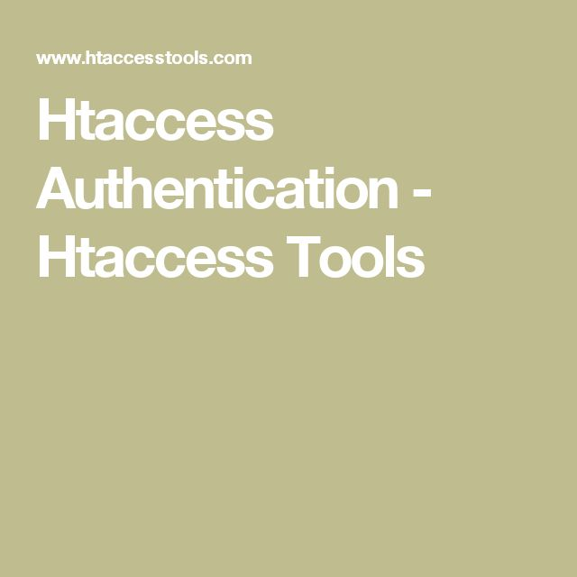 Htaccess Authentication - Htaccess Tools