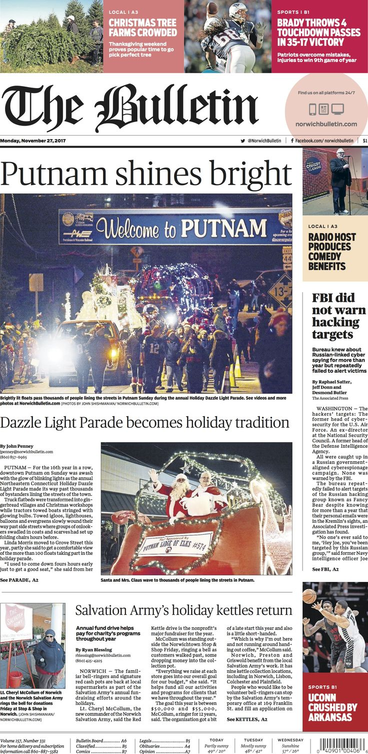 Monday, November 27, 2017 - Subscribe to The Bulletin today: http://www.norwichbulletin.com #ctnews #newlondoncounty #windhamcounty