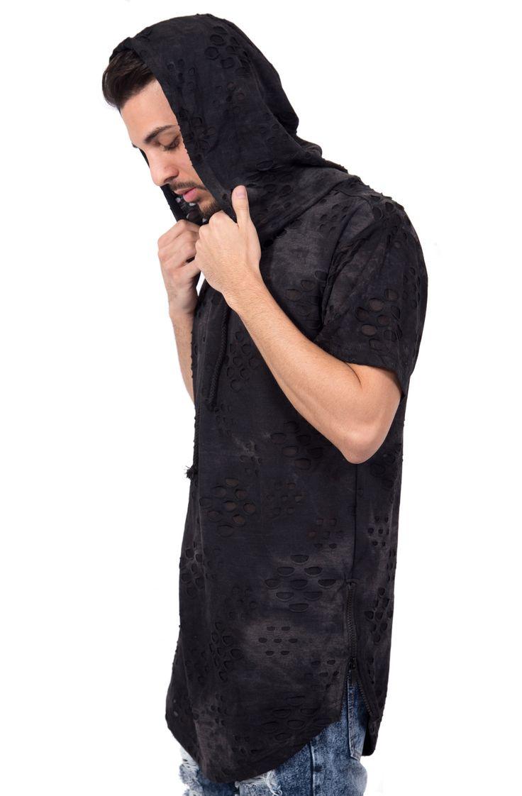 Lightweight Distressed Short Sleeve Hoodie in Black – Fashion X Freedom