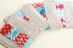 Fair and Square Quilted Coasters tutorial by Kim from Retro Mama for Craft Snob. This quilted coaster tutorial provides instructions for piecing, quilting, and backing these patchwork linen coasters.