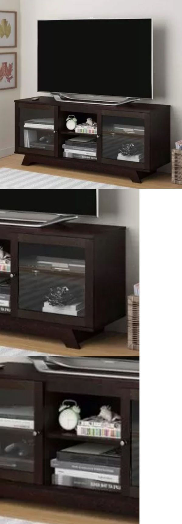 Entertainment Units TV Stands: Cherry Finish 55-Inch Tv Stand Entertainment Center Wood Media Storage Cabinet -> BUY IT NOW ONLY: $149.52 on eBay!