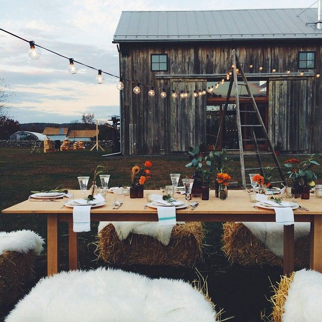 How cozy! A sweet farm table to warm a body and her friends. from A Woman in Science