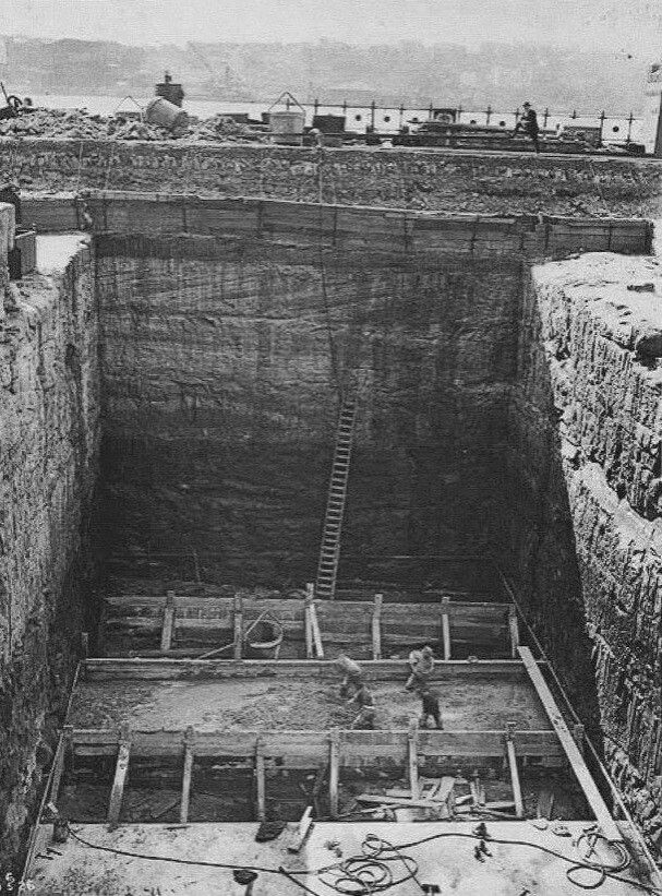 Foundations of the Sydney Harbour Bridge (year unknown).