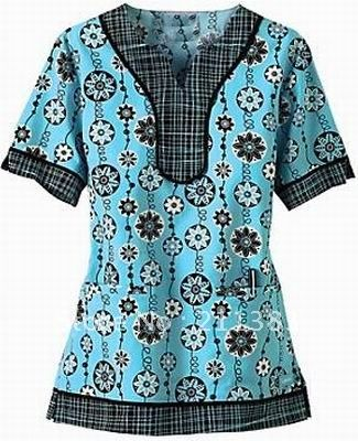 Free Scrub Shirt Pattern | Women cotton nurse uniform hospital uniform medical scrubs tops work ...