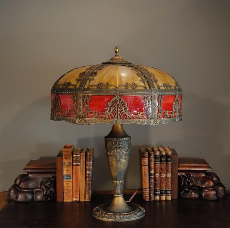 Large ornate 12 panel slag glass lamp