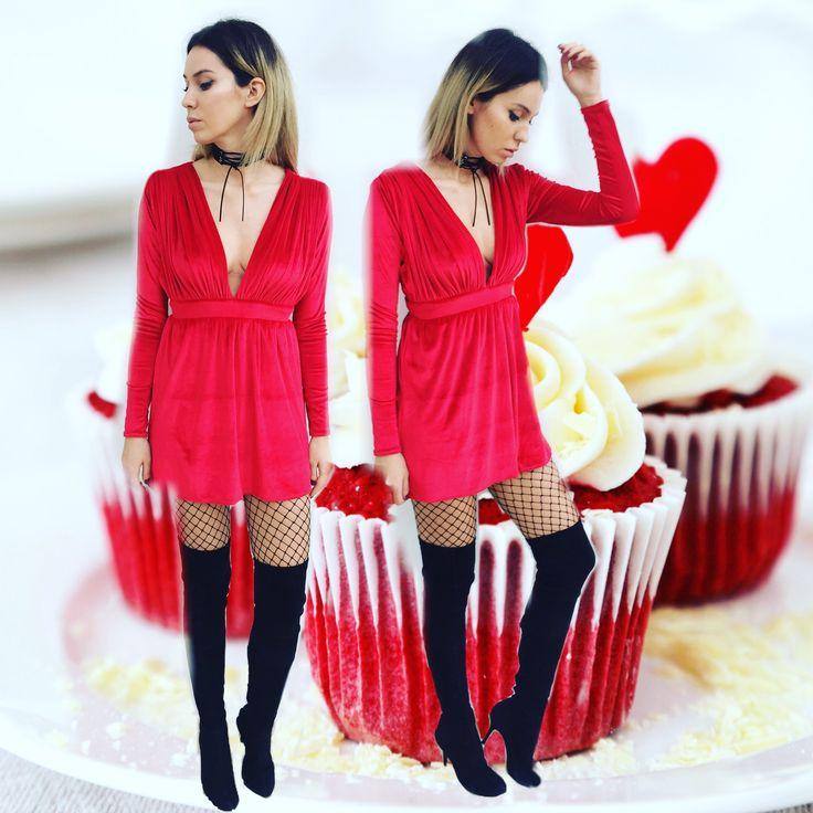 red velvet dress by Laura Ion