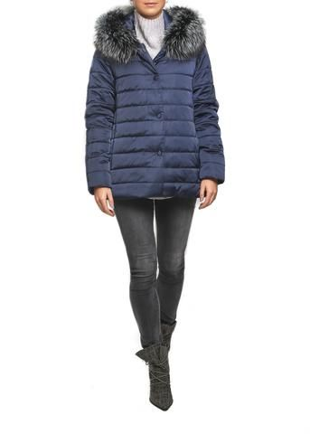 Jessimara 'Olivia' Navy Blue Raccoon fur collar on Black Thinsulate Puffer Coat