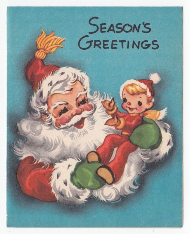 Vintage Greeting Card Christmas Santa Claus Holding Little Pixie Elf A-Meri-Card