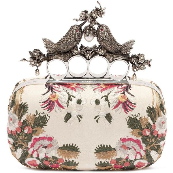 Alexander McQueen Floral Embroidery Bird Knuckle Clutch ($2,595) ❤ liked on Polyvore featuring bags, handbags, clutches, chemise and multicolor, box clutch, floral handbags, floral print handbags, alexander mcqueen clutches and alexander mcqueen purse