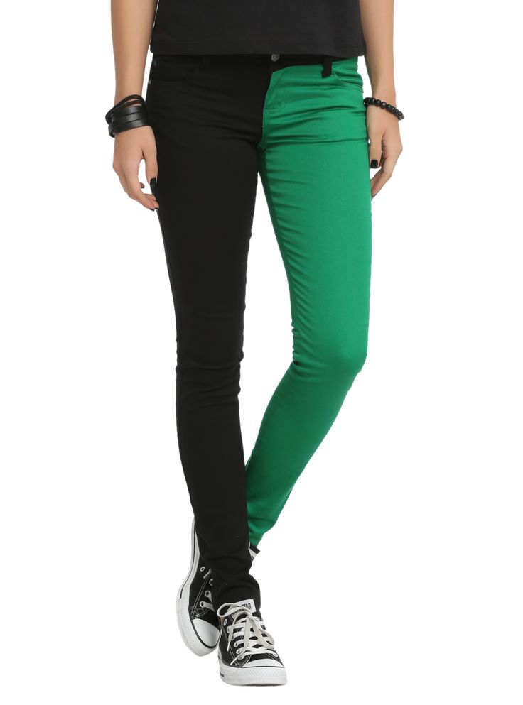 Stretchy skinny jeans with green and black split legs. Classic 5-pocket styling.