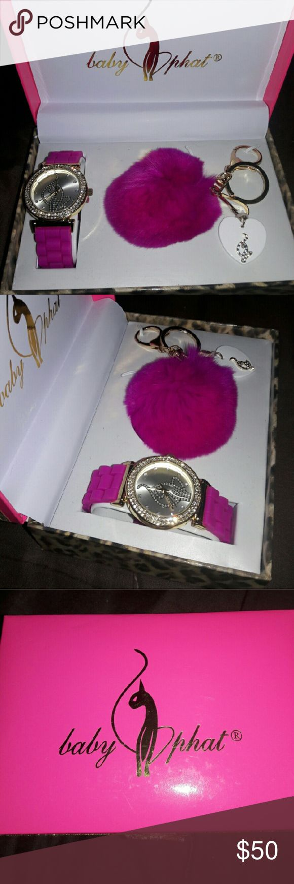 Baby phat women's watch and key chain set Very pretty baby phat women's watch and key chain set brand new still in original box! Baby Phat Accessories Watches