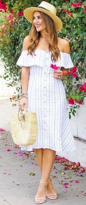 #summer #lovely #outfits |  Off The Shoulder Stripe Shirt Dress