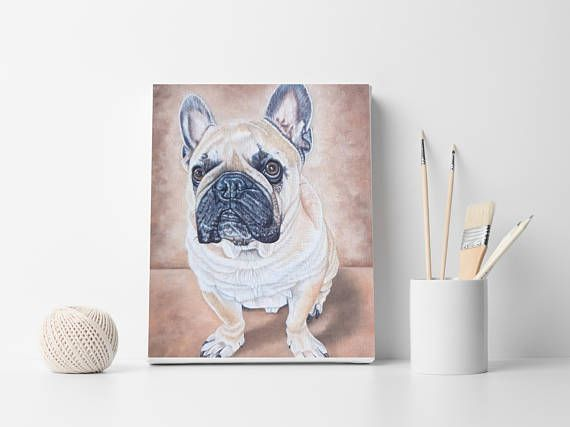 Dog wall decor Custom portrait French bulldog Dog lovers gift  www.etsy.com/shop/OilpaintingsChrista