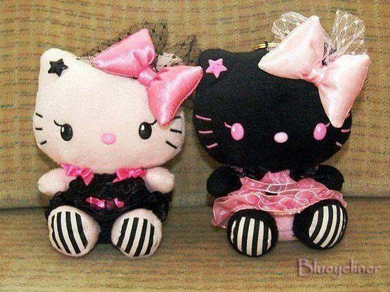 Pink and black hk hello kitty sanrio kawaii pinterest