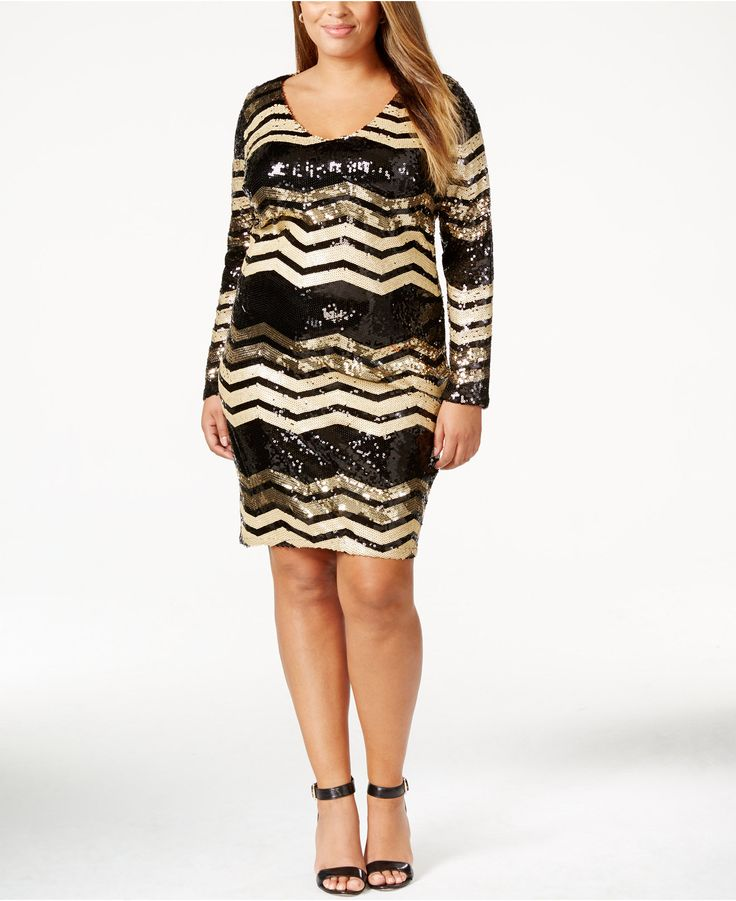 Trixxi Plus Size Chevron-Sequined Bodycon Dress - Dresses - Plus Sizes - Macy's
