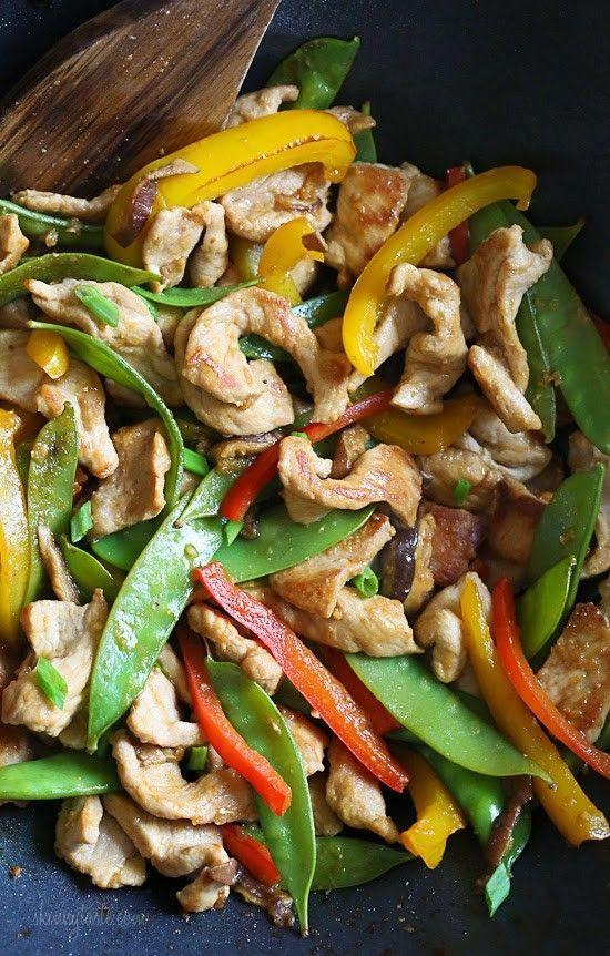 Stir Fried Pork and Mixed Veggies {Skinnytaste} -Kyle dinner but sub broccoli for the mushrooms