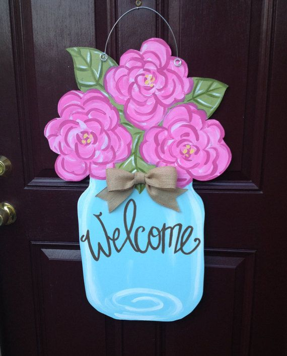 Items similar to Flowers and Mason Jar Door Hanger/Summer Door Hanger/Welcome Door Hanger/Mason Jar Door Hanger/First Impression/Greek/Phi Mu/Sorority Art on Etsy