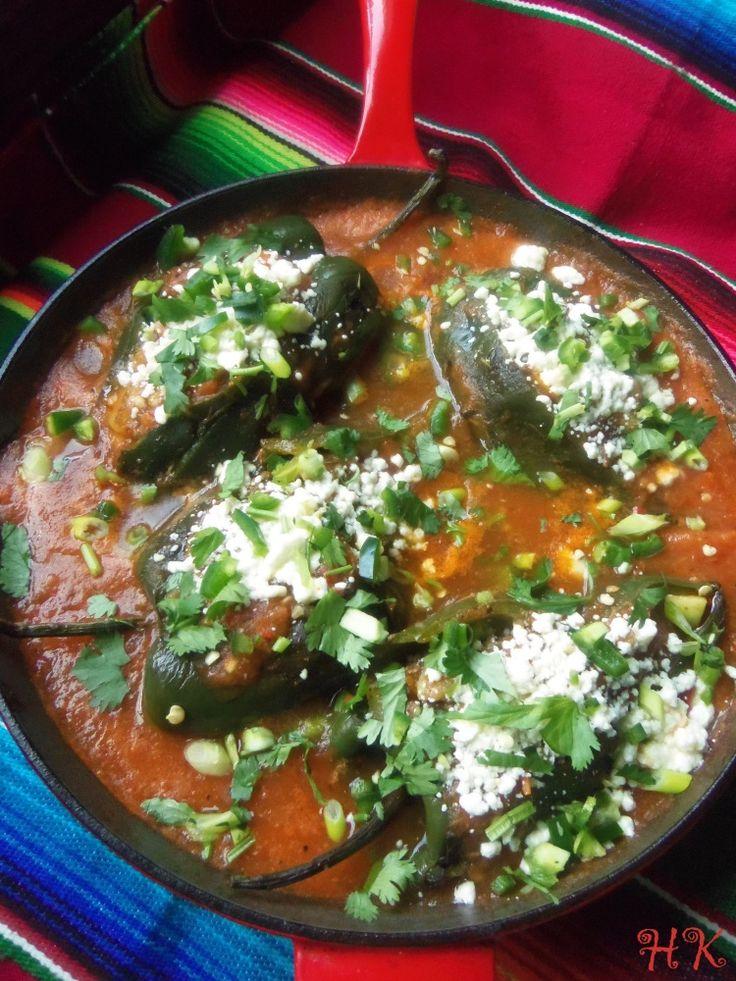 Chiles Rellenos en Salsa (Skillet Stuffed Poblanos in Tomato Salsa) - Hispanic Kitchen
