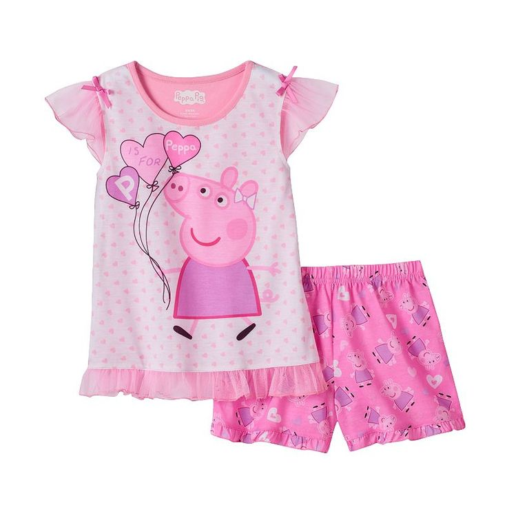 "Girls 4-6x Peppa Pig ""P is for Peppa"" Pajama Set, Girl's, Size:"