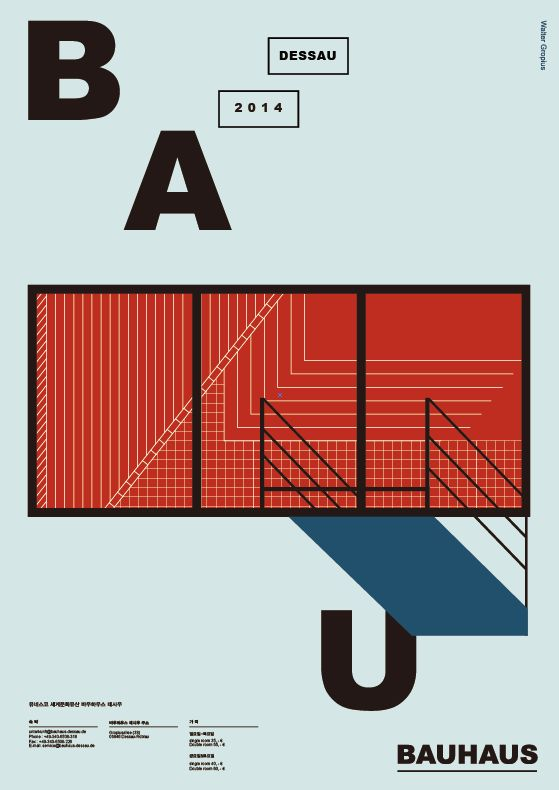 Bauhaus Poster. Sleek lines and lots of negative space.