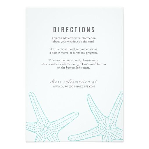 Modern Turquoise Starfish Nautical Beach Coastal Destination Wedding DIRECTIONS To The Or Reception Information Card