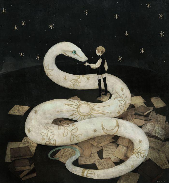Secrets of the Serpent , artist unknown #illustration #boy #snake