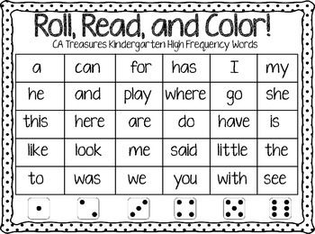 ROLL, READ, AND COLOR TREASURES KINDERGARTEN HIGH FREQUENCY WORDS ...