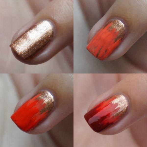 Sinds het ongeluk van mijn stiefbroer kreeg ik het niet opgebracht om vrolijke tekeningen op mijn nagels te maken. Inmiddels gaat het heel wat beter met hem dus werd het ook weer hoog tijd voor een herfst nail art!Wat heb je nodig/wat heb ik gebruikt? Koperkleurige nagellak – Sally Hansen – 679 Pennies For Heaven Peachy kleurige nagellak – Gosh, Oh My Gosh – 021 Peachy Rose Fel oranje nagellak – Gosh – 620 Tropicana Diep rode nagellak – Lella 72 (merk uit Tunesië) Topcoat Striper kwast D...