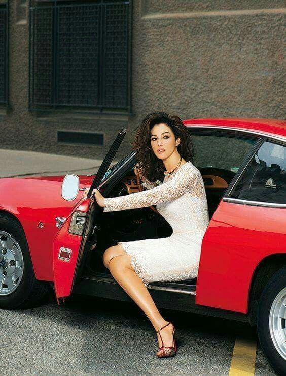 Monica Bellucci in a Lancia Fulvia Zagato