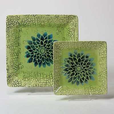 Use Mayco Designer Stencils and Designer Stamps to create these crackled flower plates.