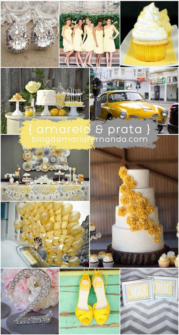 Decoração de Casamento : Paleta de Cores Amarelo e Prata | http://blogdamariafernanda.com/decoracao-de-casamento-paleta-de-cores-amarelo-e-prata