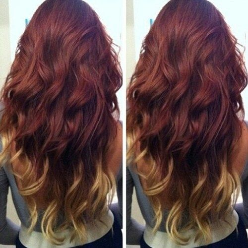 Dark red with blonde dip dye... After the wedding I want to do this!