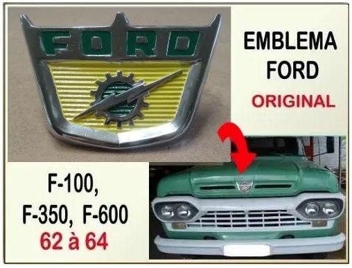 emblema ford do capô f-100 1962 à 1964 f-350 f-600 original