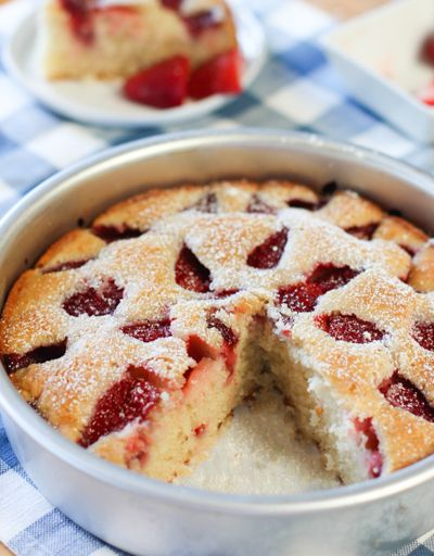 Easy Strawberry Cake! You can use any fruit to change this up! A keeper recipe!