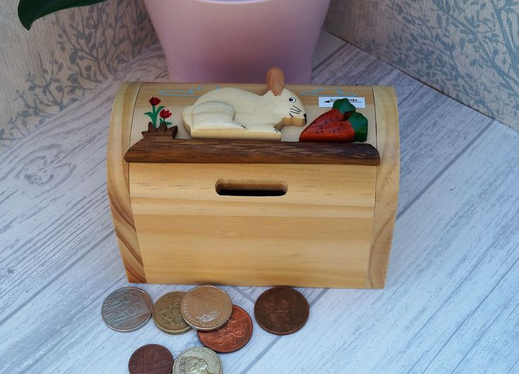Childrens wooden money box, personalised money box, animal money box, treasure chest money box, childrens birthday gift, rabbit moneybox, by celebrateyourway on Etsy