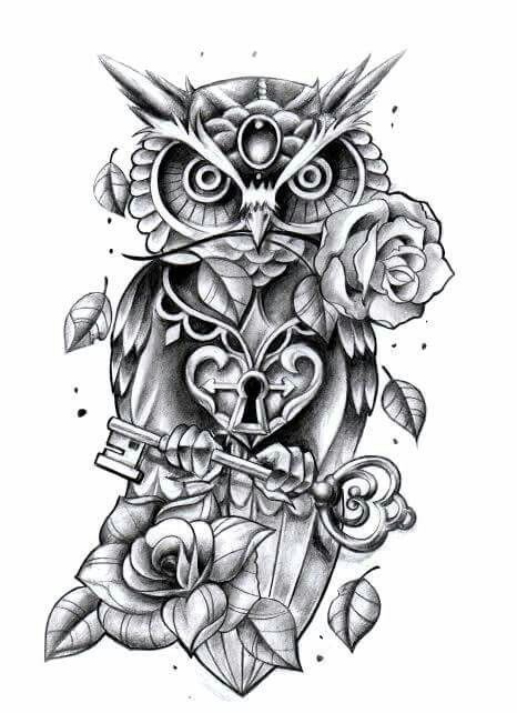 Tattoo Finka Owl - but without the lock and key - DP