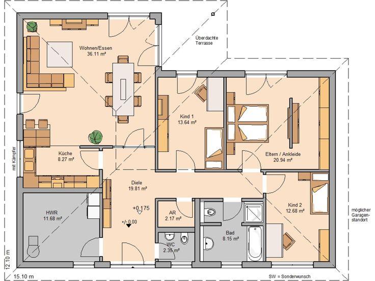 Grundriss einfamilienhaus modern ebenerdig  Die 25+ besten Winkelbungalow grundriss Ideen auf Pinterest ...