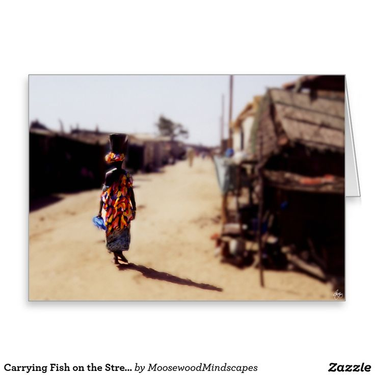 Carrying Fish on the Streets of Kayar Senegal Greeting Card