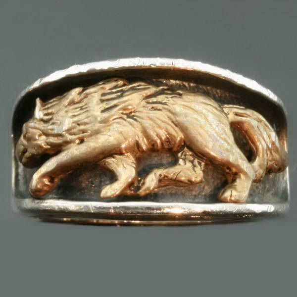 Victorian Bishops ring with stunning enamel work and hidden ring with stalking wolf