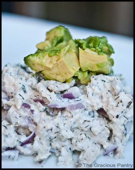 Healthy Chicken Salad--need to try!  original pinner said:  I made this yesterday to much fanfare with a couple of changes.  1)  I used plain Greek yogurt (not a ranch dressing) 2)  I mashed up avocado into the Greek yogurt to make an avocado dressing.  It was SO good and will definitely be made again.  TONS of protein (68g when made with Greek yogurt and 3oz chicken and 1/2 avocado) phase 3