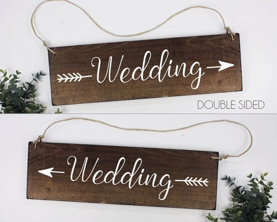 Includes one, double sided wedding arrow sign. Whats great about the double sided sign is you dont have to worry about what exact left or right signs you need. Use this sign for either left or right direction. Add additional signs to help your guests find the wedding location.  FEATURES --------------- Size is 6 x 18 Listing is for 1 double sided sign that can be used as a left or right White Painted Lettering    TURNAROUND  Our standard turnaround time is 1-3 days from time of purchase. If…
