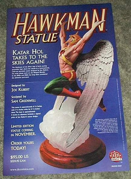 17x11 DC Comics Hawkman window display promo poster showing the DC Direct statue