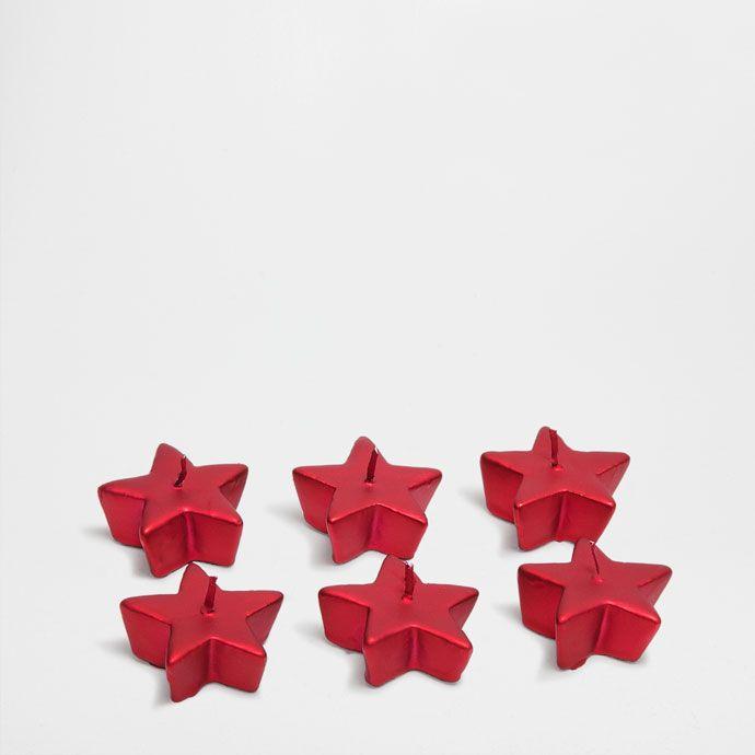 Velas rojas forma estrella (set de 6) - Navidad   Zara Home España