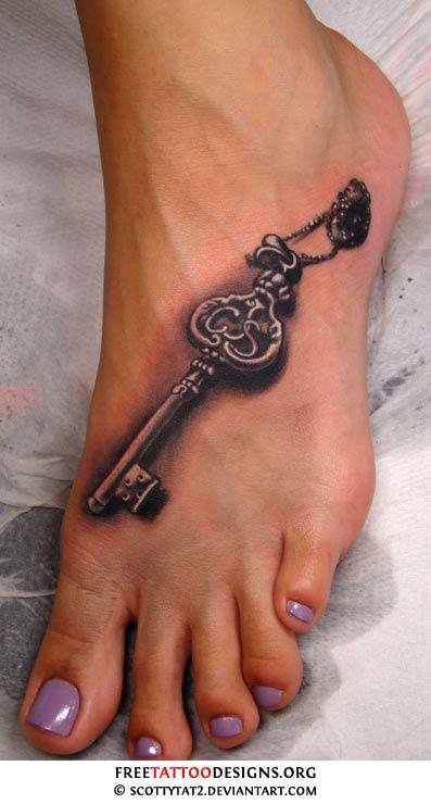 Key tattoo on foot