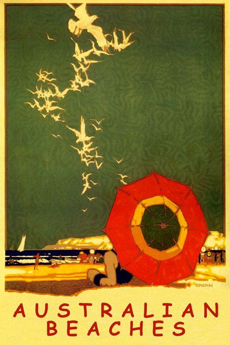 Australian Beaches Travel Poster