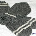 Oxford Grey with White Stripes Socks & Mittens