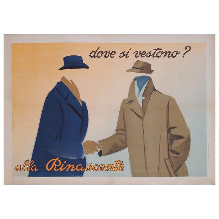 Italian Men's Fashion Poster by Marcello Dudovich, 1948 | 1stdibs.com