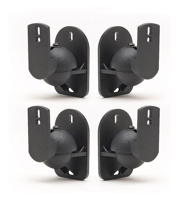 TechSol 4 Pack of Black Universal Speaker Wall Mount: Amazon.co.uk: Electronics
