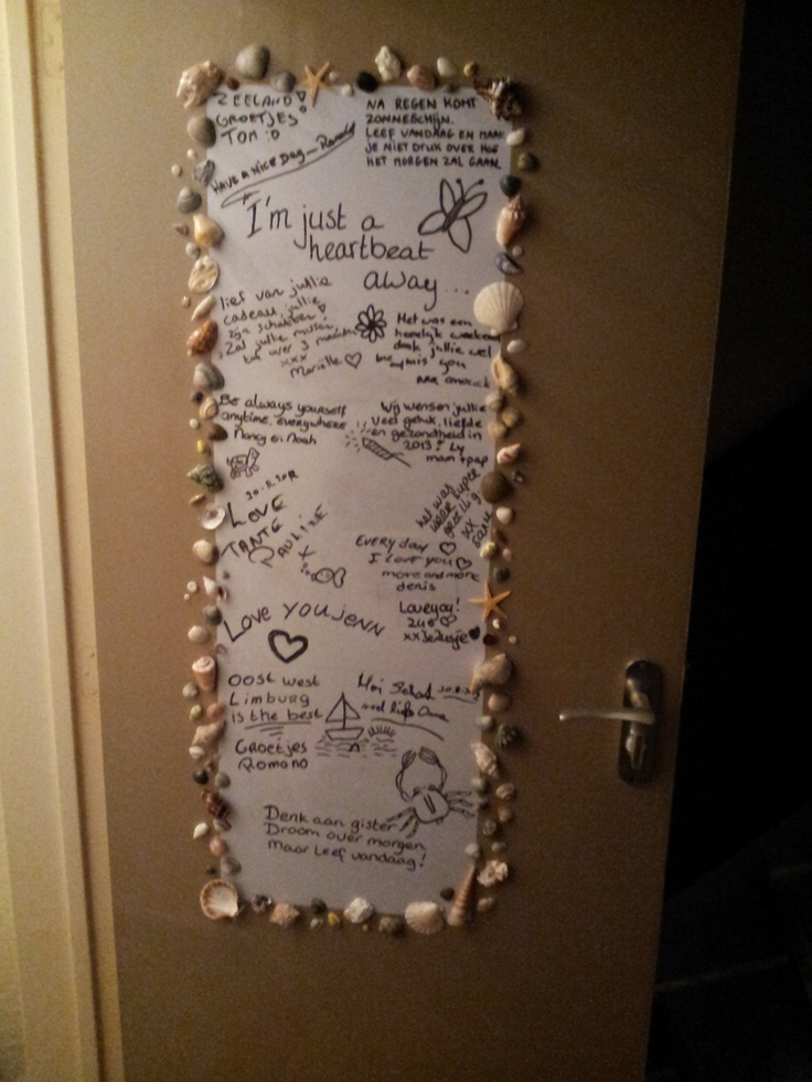 great idea to decorate youre toilet door, So youre guests can leave a message.