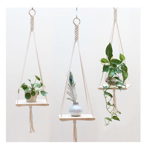 Macrame Plant Hanger / Macrame shelf hanging / Plant Holder / Hanging Planter / Macrame Plant Holder / Pot Hanger by TeddyandWool on Etsy https://www.etsy.com/listing/400466965/macrame-plant-hanger-macrame-shelf